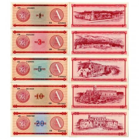"""1985 * Set 5 Billetes Cuba 1-20 Pesos """"Certificado de Divisa"""" Serie A SC"""