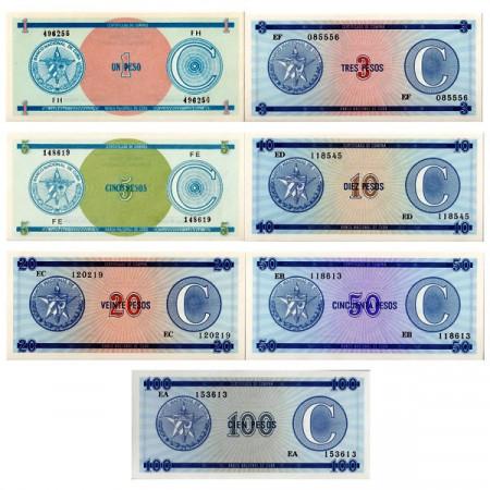 "1985 * Set 7 Billetes Cuba 1-100 Pesos ""Certificado de Compra"" Serie C SC"