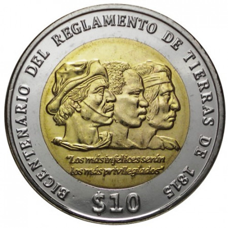 "2015 * 10 Pesos Bimetálica Uruguay ""Reglamento de Tierras de 1815"" (KM 141) UNC"