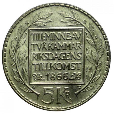 "1966 U * 5 Kronor Plata Suecia ""100° Reforma Constitucional Bicameral"" (KM 839) EBC"