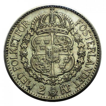 """1939 G * 2 Kronor Plata Suecia """"Gustavo V - Escudo"""" (KM 787) EBC"""