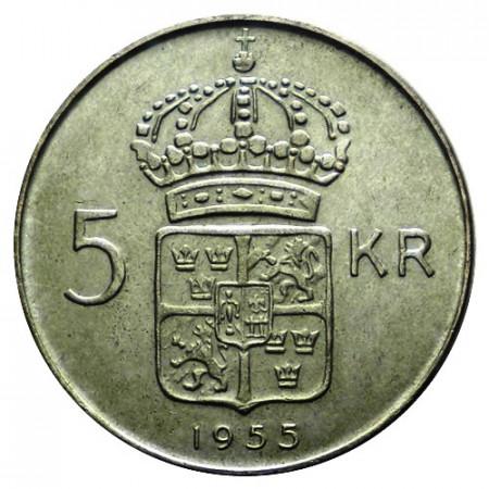 """1955 * 5 Kronor Plata Suecia """"Gustavo VI - Escudo"""" (KM 829) EBC"""