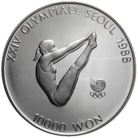 1987 * 10000 Won plata Corea del Sur - Salto proof