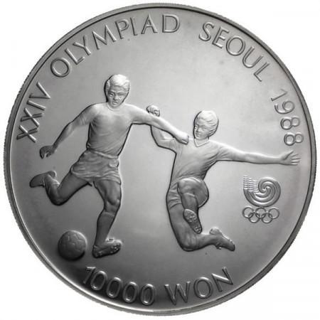 1988 * 10000 Won plata Corea del Sur - Fútbol proof