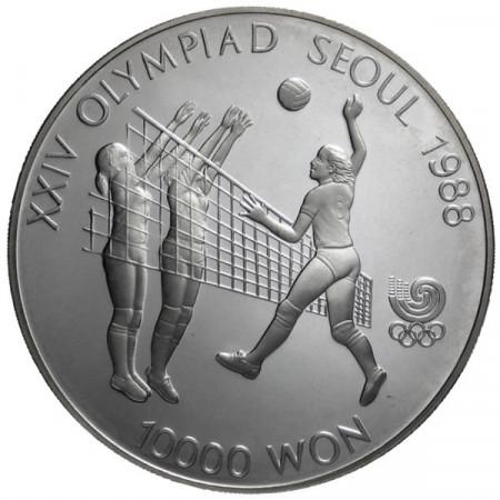 1987 * 10000 Won plata Corea del Sur - Voleibol proof