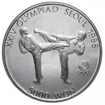 1987 * 5000 Won plata Corea del Sur - Tae Kwon Do proof