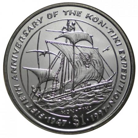 """1997 * 1 Dollar Liberia """"50º Expedición Kon-Tiki"""" (KM 320) UNC"""