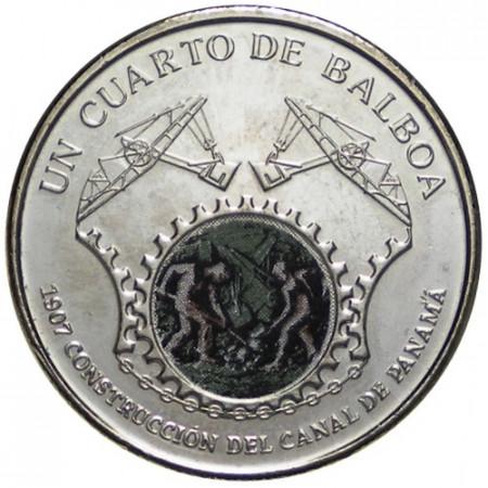 """2016 * Quarto 1/4 Balboa (25 Cents) Panamá """"Canal de Panamá"""" UNC"""