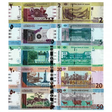 """2015 * Lote 5 Billetes Sudán 2 - 50 Sudanese Pounds """"Modified Colors"""" (p71-75) SC"""