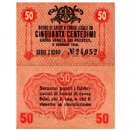 "1918 * Billete Italia 50 Centesimi ""Buono di Cassa Veneta - Ocupación Austro-Alemán"" (pM3) cSC"