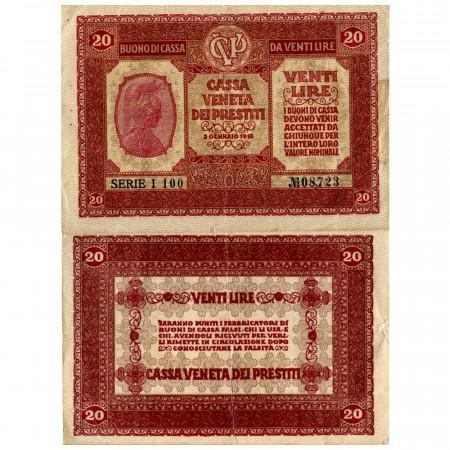 "1918 * Billete Italia 20 Lire ""Buono di Cassa Veneta - Ocupación Austro-Alemán"" (pM7) MBC"