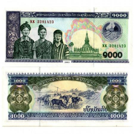 """ND (2003) * Billete Laos 1000 Kip """"Women, Pha That Luang Pagoda"""" (p32Ab) SC"""
