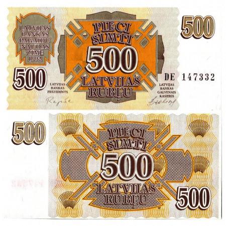 """1992 * Billete Letonia 500 Rublu """"Government"""" (p42) SC"""