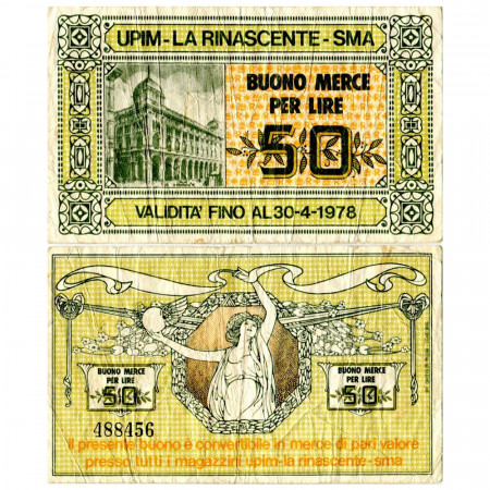 "1978 * Buono Merce Italia 50 Lire ""Upim - La Rinascente - SMA"" MBC"