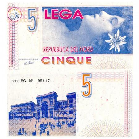 "ND (1994) * Ticket 5 Lega ""Lega Nord"" UNC"