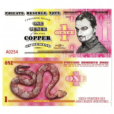 """2013 * Billete Polímero Private Reserve Note 1 Ounce """"999 Fine Copper"""" SC"""