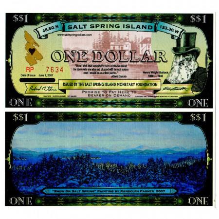 """2007 * Billete Salt Spring Island 1 Dollar """"HW Bullock"""" SC"""