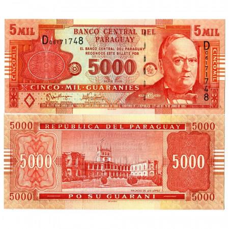 """2005 * Billete Paraguay 5000 Guaraníes """"Don Carlos Antonio López"""" (p223a) SC"""