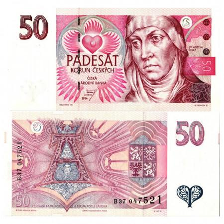 "1994 * Billete República Checa 50 Korun ""St. Agnes of Bohemia"" (KM 11) SC"