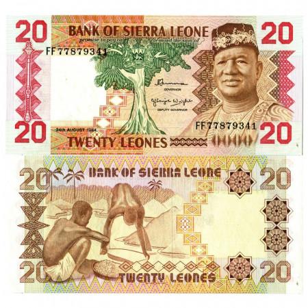 """1984 * Billete Sierra Leona 20 Leones """"President Siaka Stevens"""" (p14b) SC"""