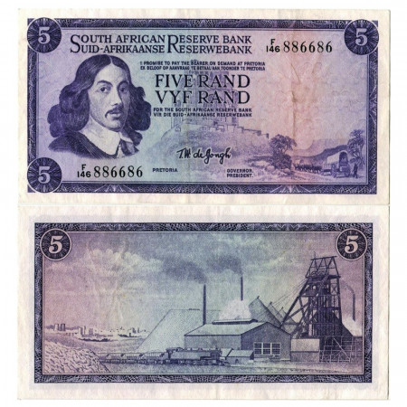 "ND (1966-1976) * Billete Sudáfrica 5 Rand ""Jan van Riebeeck"" (p111b) EBC"