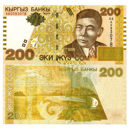 """2000 * Billete Kirguistán 200 Som """"Alykul Osmonov"""" (p16) SC"""