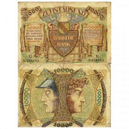 """1923 * Billete Alemania Estados Alemanes 10.000 Mark """"Baden"""" (pS910) BC"""
