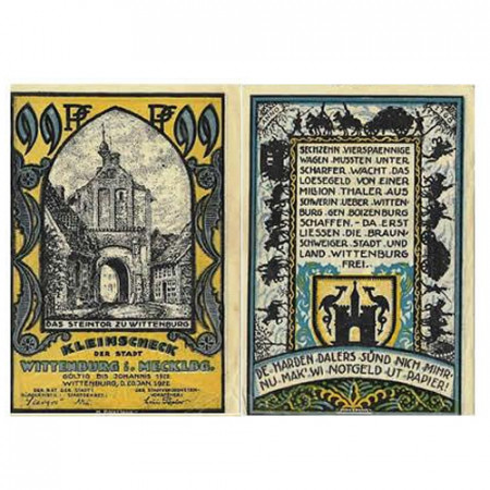 """1922 * Notgeld Alemania 99 Pfennig """"Mecklemburgo-Pomerania - Wittenburg"""" (1445) MBC"""
