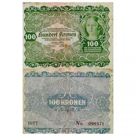"1922 * Billete Austria 100 Kronen ""Princess Rohan"" (p77) MBC"