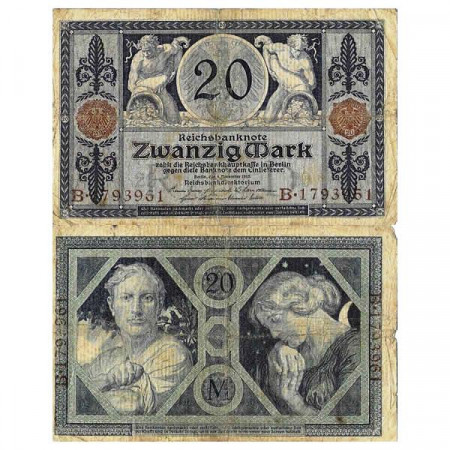 "1915 * Billete Alemania Imperio 20 Mark ""Deutsches Reich"" (p63) BC"
