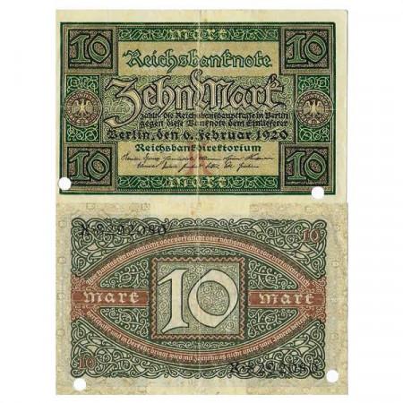 """1920 * Billete Alemania Weimar 10 Mark """"Reichsbanknote"""" (p67) cMBC"""