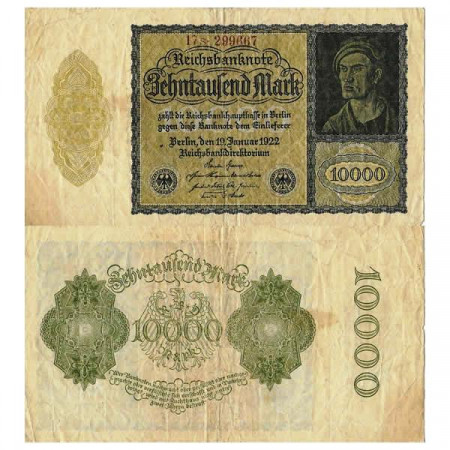 "1922 * Billete Alemania Weimar 10.000 Mark ""Reichsbanknote"" (p72) BC"