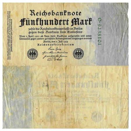 """1922 * Billete Alemania Weimar 500 Mark """"Reichsbanknote"""" (p74b) BC"""
