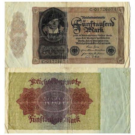 """1922 * Billete Alemania Weimar 5000 Mark """"Reichsbanknote"""" (p78) BC"""