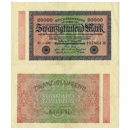 "1922 * Billete Alemania Weimar 20.000 Mark ""Reichsbanknote"" (p85c) MBC"