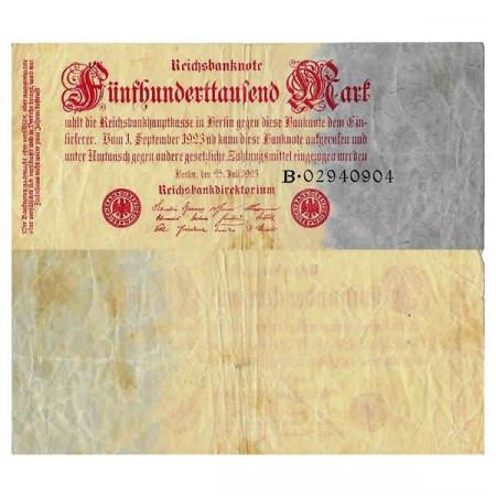 """1923 * Billete Alemania Weimar 500.000 Mark """"Reichsbanknote"""" (p92) BC"""