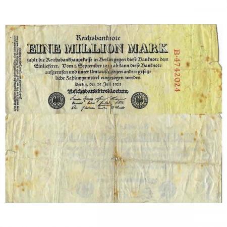"""1923 * Billete Alemania Weimar 1 Millon - 1.000.000 Mark """"Reichsbanknote"""" (p94) BC"""