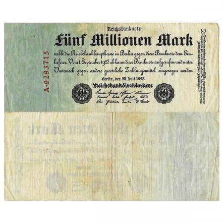 """1923 * Billete Alemania Weimar 5 Millones - 5.000.000 Mark """"Reichsbanknote"""" (p95) BC+"""