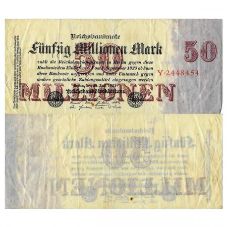 "1923 * Billete Alemania Weimar 50 Millones - 50.000.000 Mark ""Reichsbanknote"" (p98a) BC"