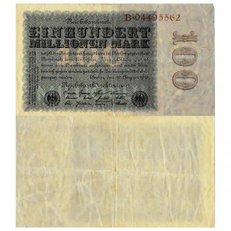 """1923 * Billete Alemania Weimar 100 Millones - 100.000.000 Mark """"Reichsbanknote"""" (p107a) cMBC"""