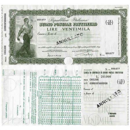 """1926 * Buono Postale Fruttifero Italia 20.000 Lire """"Cagliari - Gonnosfanadiga - Annullato"""" EBC"""