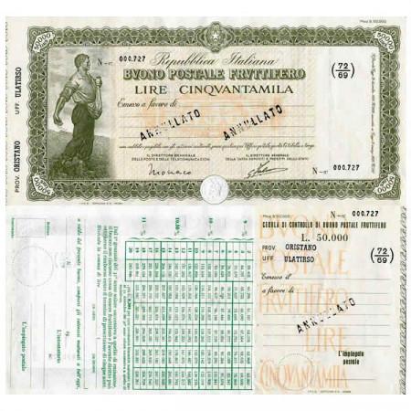 """1926 * Buono Postale Fruttifero Italia 50.000 Lire """"Oristano - Ulatirso - Annullato"""" EBC"""