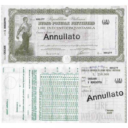 """1926 * Buono Postale Fruttifero Italia 250.000 Lire """"Cagliari - San Benedetto - Annullato"""" EBC"""