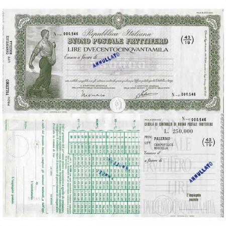 """1926 * Buono Postale Fruttifero Italia 250.000 Lire """"Palermo - Campofelice Roccella - Annullato"""" EBC"""