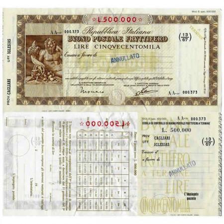 """1926 * Buono Postale Fruttifero Italia 500.000 Lire """"Cagliari - Iglesias - Annullato"""" EBC"""