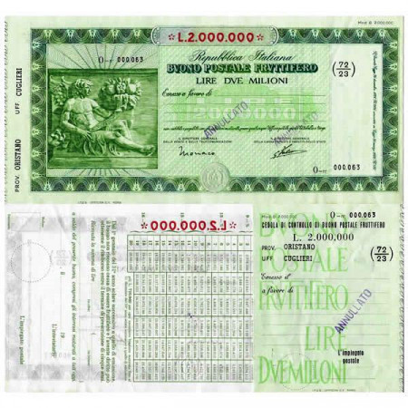 """1926 * Buono Postale Fruttifero Italia 2 Milioni - 2.000.000 Lire """"Oristano - Cuglieri - Annullato"""" EBC"""