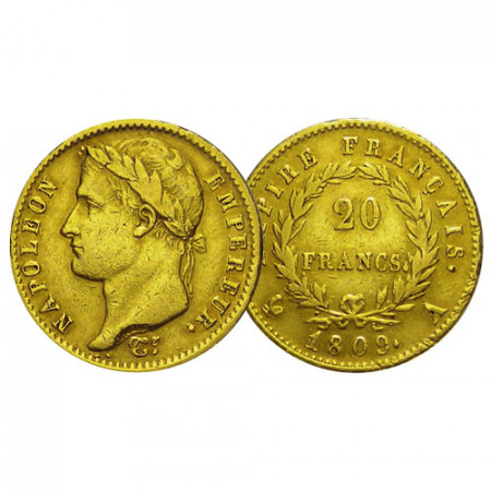 "1809 A * 20 Francs Marengo Oro Francia ""Primer Imperio - Napoleón I"" (KM 695.1) MBC"