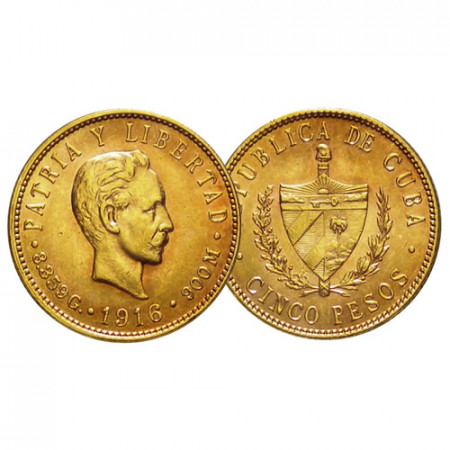 "1916 * 5 Pesos Oro Cuba ""Primera República- José Martí"" (KM 19) EBC+"