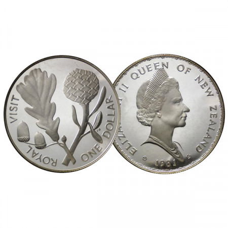 "1981 * 1 Dollar Plata Nueva Zelanda ""Visita Real"" (KM 50a) PROOF"