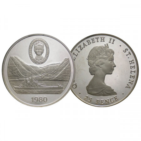 """1980 * 25 Pence Plata Saint Helena """"80th Birth Queen Mother"""" (KM 8a) PROOF"""